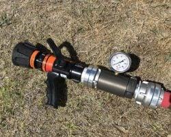 Flow testing nozzle